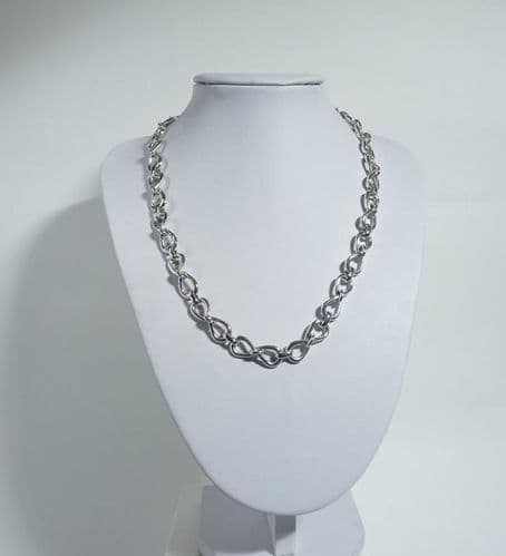 925 Solid Sterling Silver Hand Crafted Infinity Necklace